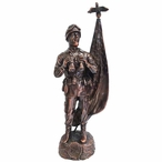 Antique Bronze Army Soldier with American Flag Statue