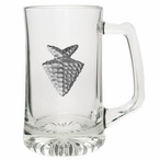 Arrowhead Glass Super Beer Mug with Pewter Accent