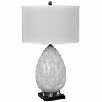 Artichoke Glass Crystal Metal Table Lamp with White Linen Shade