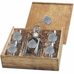 Aspen Leaf Capitol Decanter & DOF Glasses Box Set with Pewter Accents