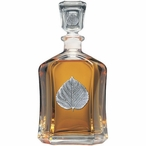 Aspen Leaf Capitol Glass Decanter with Pewter Accents
