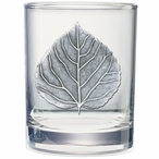 Aspen Leaf Pewter Accent Double Old Fashion Glasses, Set of 2