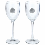 Aspen Leaf Pewter Accent Wine Glass Goblets, Set of 2