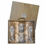 Aspen Leaf Pilsner Glasses & Beer Mugs Box Set with Pewter Accents