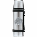 Aspen Leaf Stainless Steel Thermos with Pewter Accent