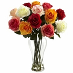 Assorted Blooming Roses Silk Flower Arrangement with Vase