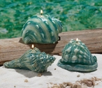 Assorted Blue Seashell Candles, Set of 3