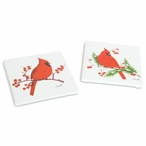 Assorted Cardinal Bird Square Coasters, Set of 12