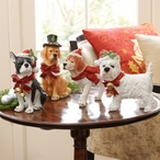 Assorted Christmas Dogs with Bows Sculptures, Set of 4