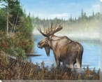 At Rivers Edge Moose II Wrapped Canvas Giclee Print Wall Art
