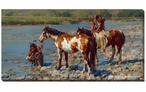 At the River's Edge Indians with Horses Wrapped Canvas Giclee Wall Art