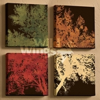 Autumn Bloom Trees Wrapped Canvas Giclee Print Wall Art, Set of 4