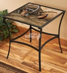 Autumn Glow Pheasants Metal Accent Table with Glass Top
