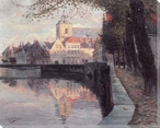 Autumn in Bruges Belgium Wrapped Canvas Giclee Print Wall Art