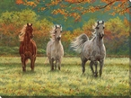 Autumn Meadow Horses Wrapped Canvas Giclee Print Wall Art