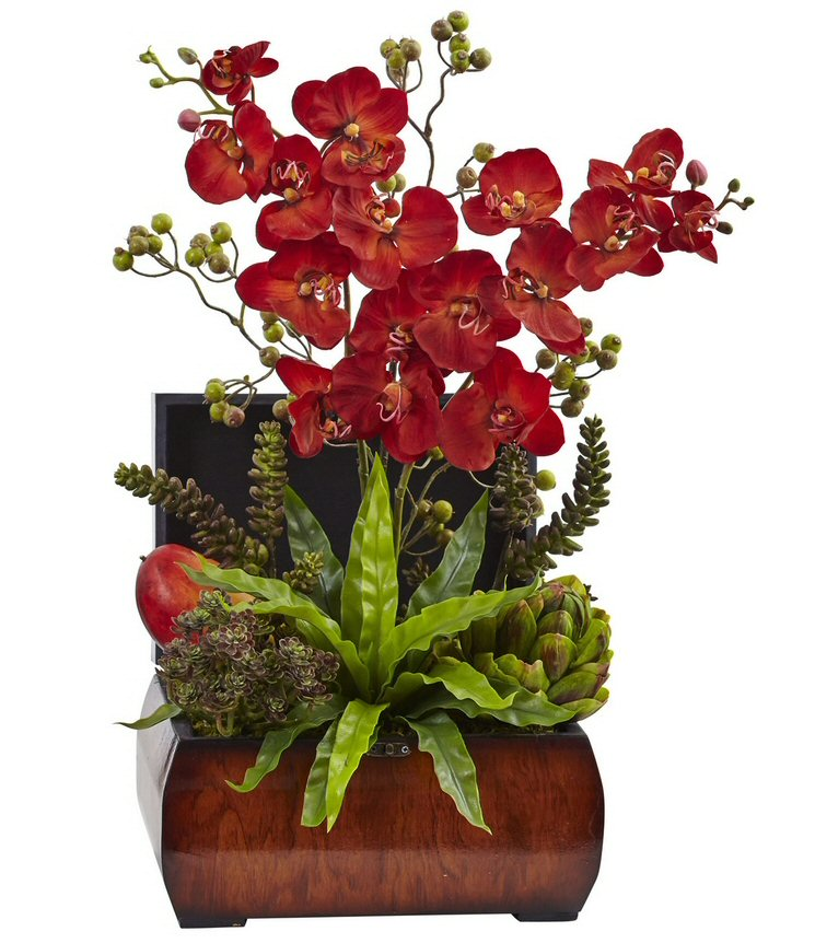 Autumn orchid and succulent silk flower arrangement with chest autumn orchid and succulent silk flower arrangement with chest mightylinksfo