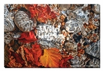 Autumn Swirl Leaves in Water Wrapped Canvas Giclee Print