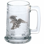 Bald Eagle Bird Glass Beer Mug with Pewter Accent