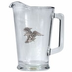 Bald Eagle Bird Glass Pitcher with Pewter Accent