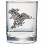 Bald Eagle Bird Pewter Accent Double Old Fashion Glasses, Set of 2