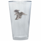 Bald Eagle Bird Pint Beer Glasses with Pewter Accent, Set of 2