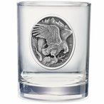 Bald Eagle United We Stand Pewter Double Old Fashion Glasses, Set of 2