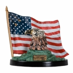 Bald Eagle Bust with Color Flag Statue
