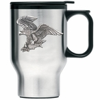 Bale Eagle Bird Stainless Steel Travel Mug with Handle & Pewter Accent