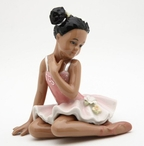 Ballerina Girl Wearing a Pink Dress Porcelain Sculpture
