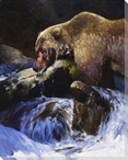 Barehanded Fishing Bear in a Stream Wrapped Canvas Giclee Print