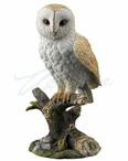 Barn Owl Bird Standing on a Branch Sculpture
