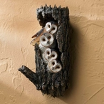 Barn Owl Birds Sculpted Hand Painted Single Wall Hooks, Set of 2