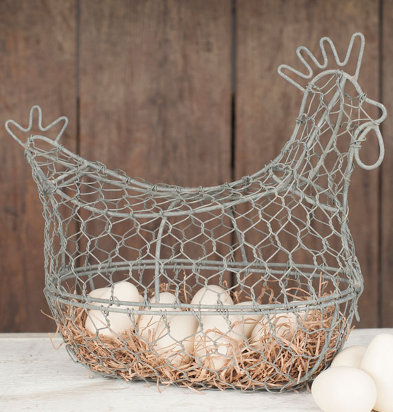 Barn Roof Chicken Wire Rooster Egg Basket Decorative