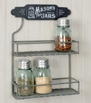 Barn Roof Mason Jar Two Tier Metal Wall Spice Rack