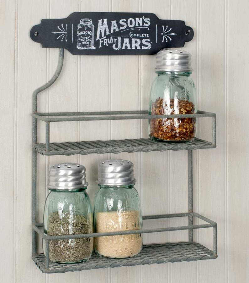 barn roof mason jar two tier metal wall spice rack decorative home accessories. Black Bedroom Furniture Sets. Home Design Ideas