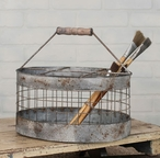 Barn Roof Oval Wire Milk Crate Basket with Handle