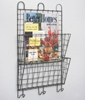 Barn Roof Two Compartment Wire Wall Magazine Holder