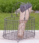 Barn Roof Wire Flower Basket with Handles