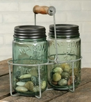 Barn Roof Wire Pint Mason Jar Caddies with Wooden Handles, Set of 2