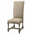 Baroque Linen and Birch Wood Side Chair with Nail Head Trim