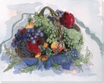 Basket with Purple and Green Grapes Wrapped Canvas Giclee Print