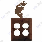 Bass Fish Double Metal Outlet Cover