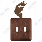 Bass Fish Double Toggle Metal Switch Plate Cover