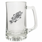 Bass Fish Glass Super Beer Mug with Pewter Accent