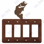 Bass Fish Quad Rocker Metal Switch Plate Cover