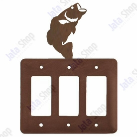 Bass Fish Triple Rocker Metal Switch Plate Cover