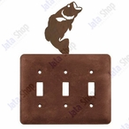 Bass Fish Triple Toggle Metal Switch Plate Cover