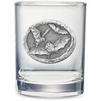 Bat Pewter Accent Double Old Fashion Glasses, Set of 2