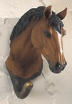 Bay Horse Hand Painted Sculpted Single Wall Hooks, Set of 3