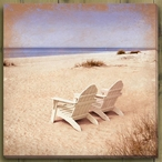 Beach Chairs on the Seashore Wrapped Canvas Giclee Print Wall Art